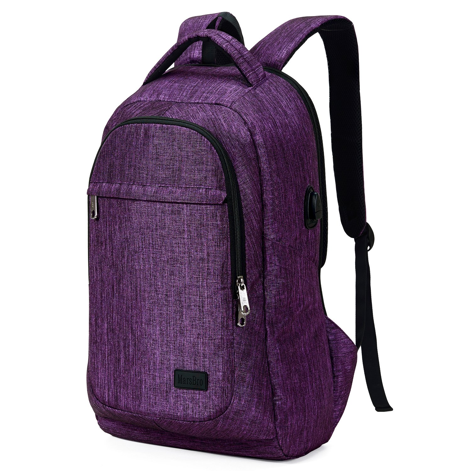 MarsBro Laptop Backpack, Anti Theft Business Water Resistant 15.6 Inch with USB Charging Port Travel College Computer Bag, Purple