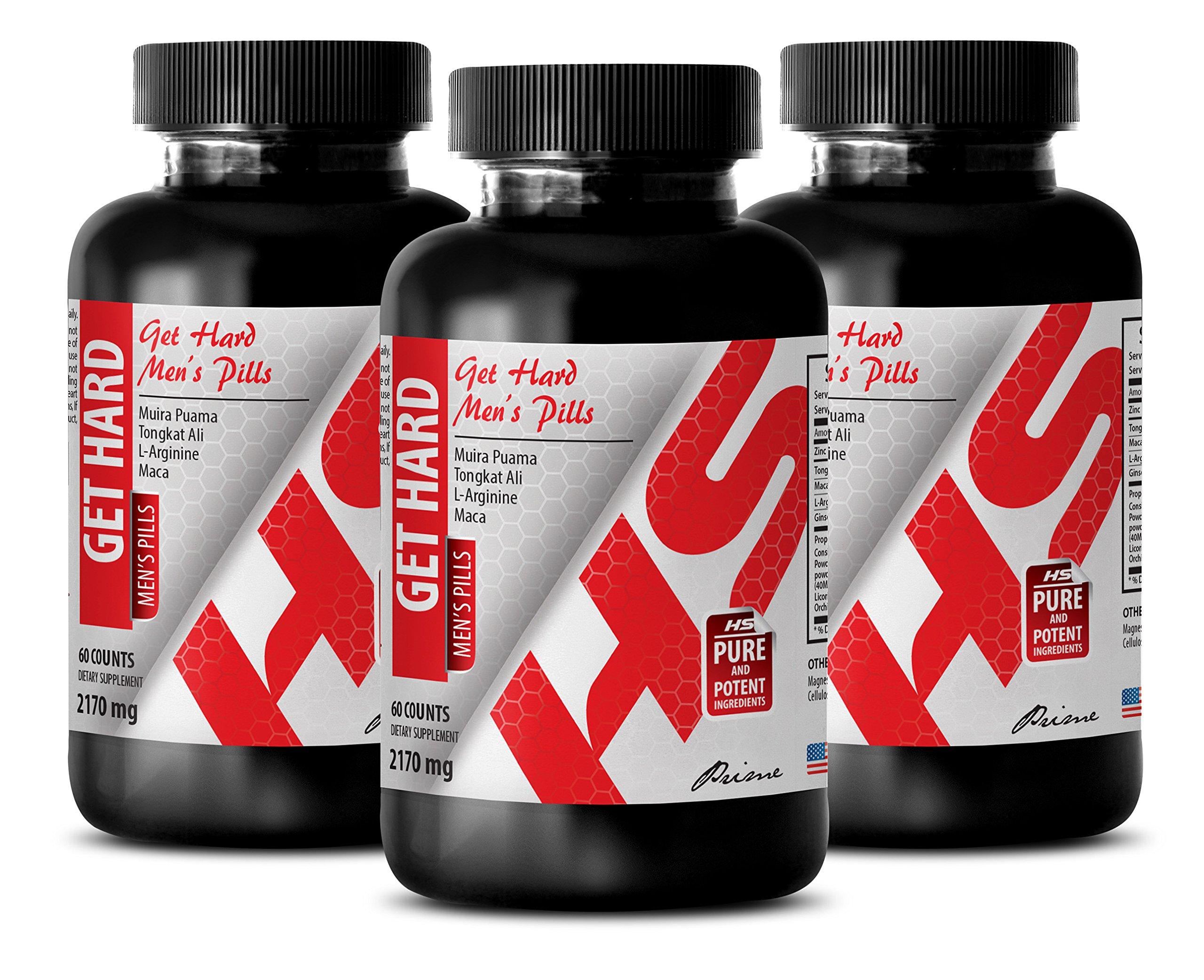 energy booster - GET HARD - MENS PILLS - l-arginine fitness - 3 Bottles (180 Capsules)