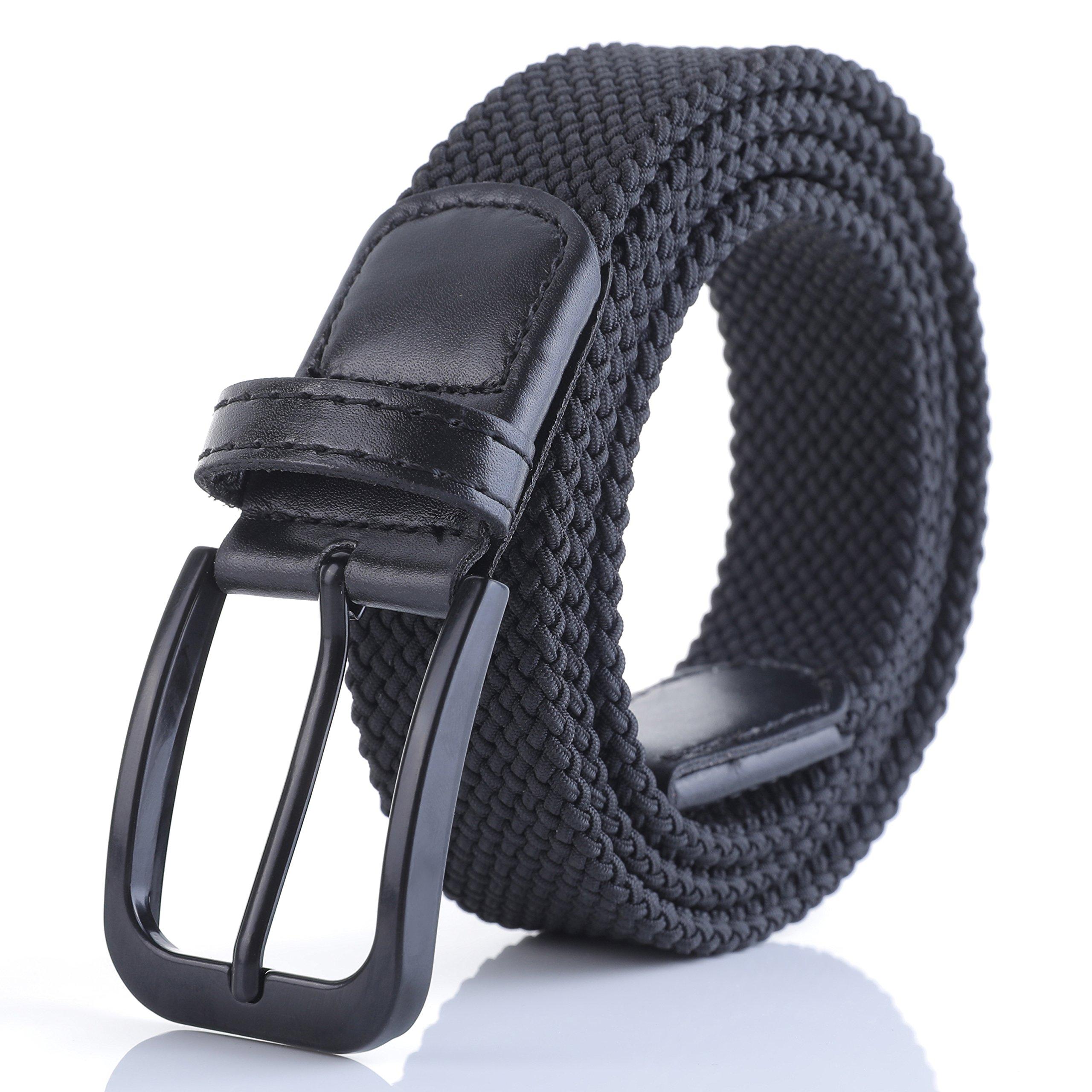 Weifert Belt for Men Braided Stretch Belt/No Holes Elastic Fabric Woven Belts (36-38'' Waist, Black Buckle)