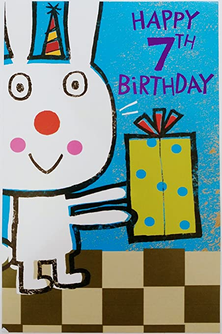 Amazon Seven Years Old Happy 7th Birthday Greeting Card W