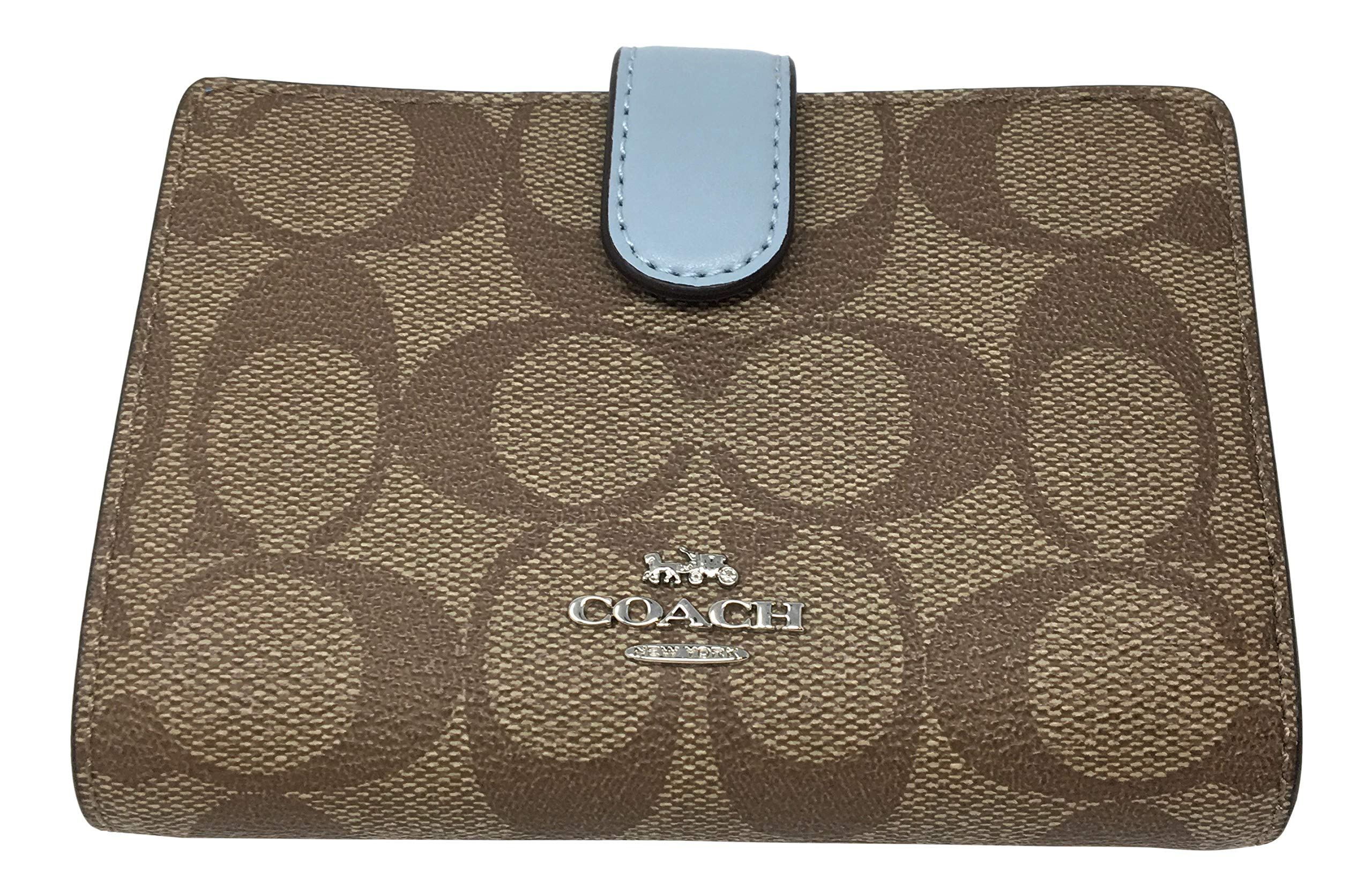 Coach Signature PVC Medium Corner Zip Wallet Khaki Pale Blue F23553