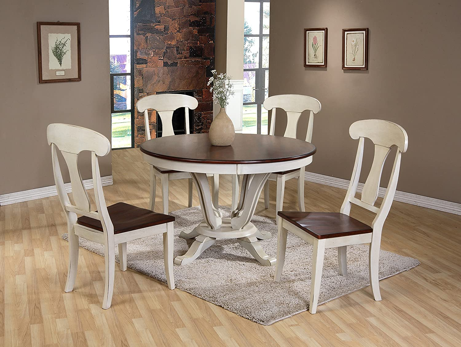 Amazon Com Baxton Studio Napoleon Chic Country Cottage Antique Oak Wood And Distressed White 5 Piece Dining Set With 48 Inch Round Pedestal Base Fixed Top Dining Table Table Chair Sets