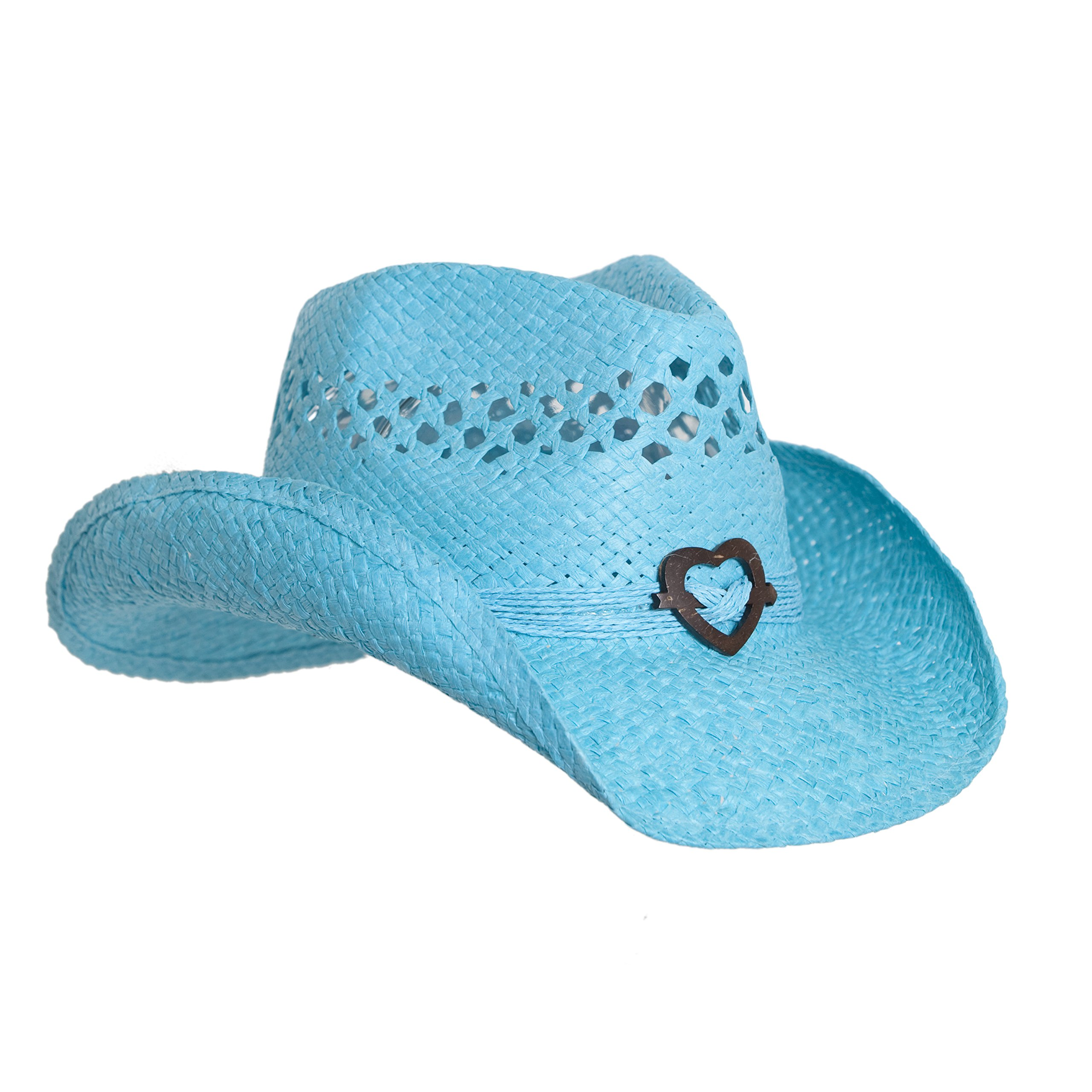 Turquoise Cute Toyo Straw Boho Cowboy Hat W/Shapeable Brim and Heart Design
