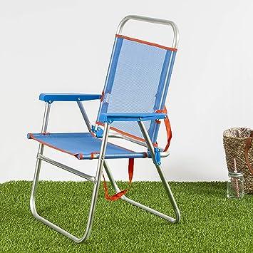Silla 51x56x90d22 Azul Plegable Home Color Habita Playa De doQBrECxWe