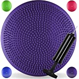 JLL Inflatable Air Stability Balance Wobble Cushion with Pump Available in 4 colours: blue, purple, green or hot pink