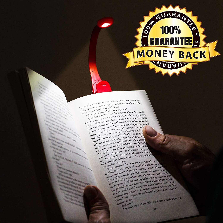 Gifts for Readers /& Writers Flexilight Xtra Lampe LED de Lecture pour Livre Flexible Portable Lecture liseuse Amoureux de Lecture Rouge