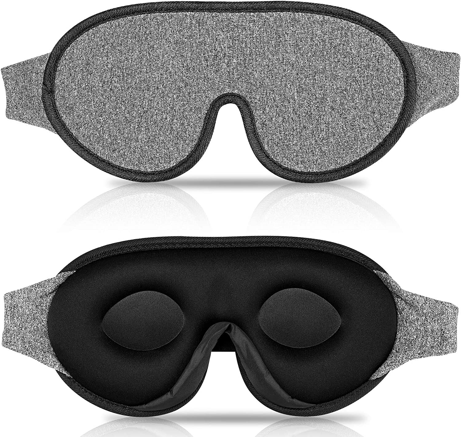 Black and gray sleep mask from two angles