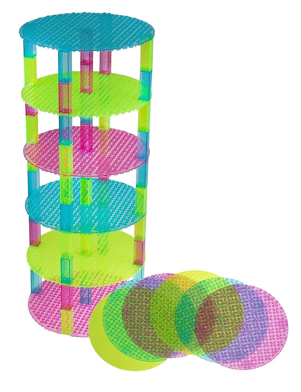 Lot de 6 plaques de base - avec 50 briques Stackers 2x2 améliorées - de qualité - en forme de cercle - compatible avec les plus grande marques - 15,2 cm - vert clair, turquoise, magenta Strictly Briks 643664813953