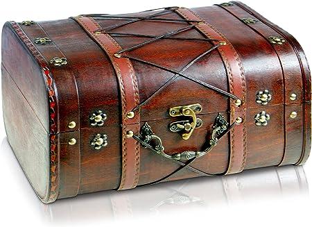 Brynnberg - Caja de Madera Cofre del Tesoro Pirata de Estilo Vintage, Hecha a Mano, Diseño Retro 32x26x20cm: Amazon.es: Hogar