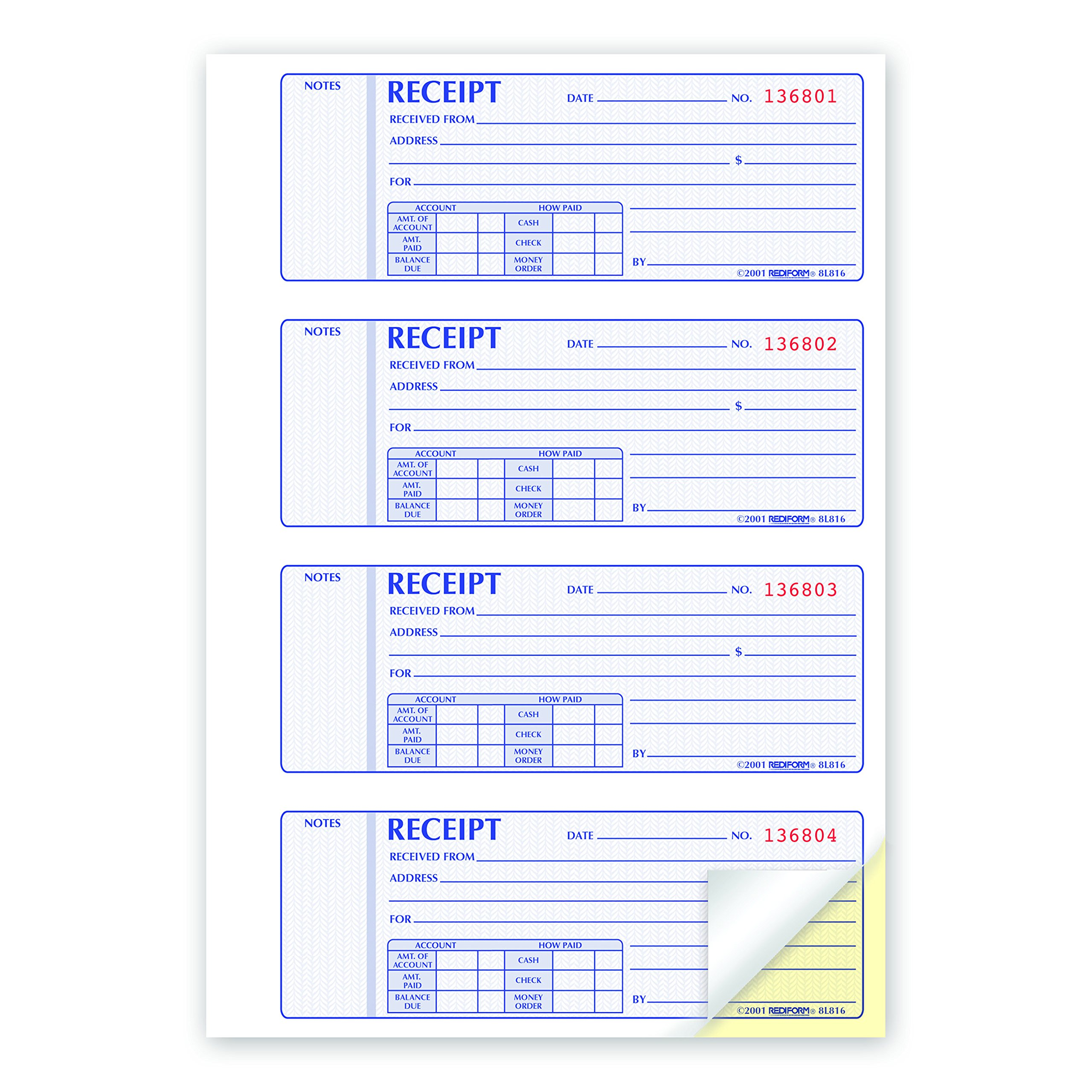 REDIFORM Money Receipt Books Black Print Carbonless, Duplicate, 400 Sets per Book (8L816) by Rediform (Image #2)