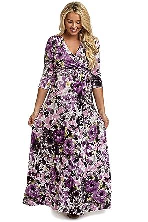 46e290c1f216 PinkBlush Maternity Rose Watercolor Floral Draped Maxi Dress at ...