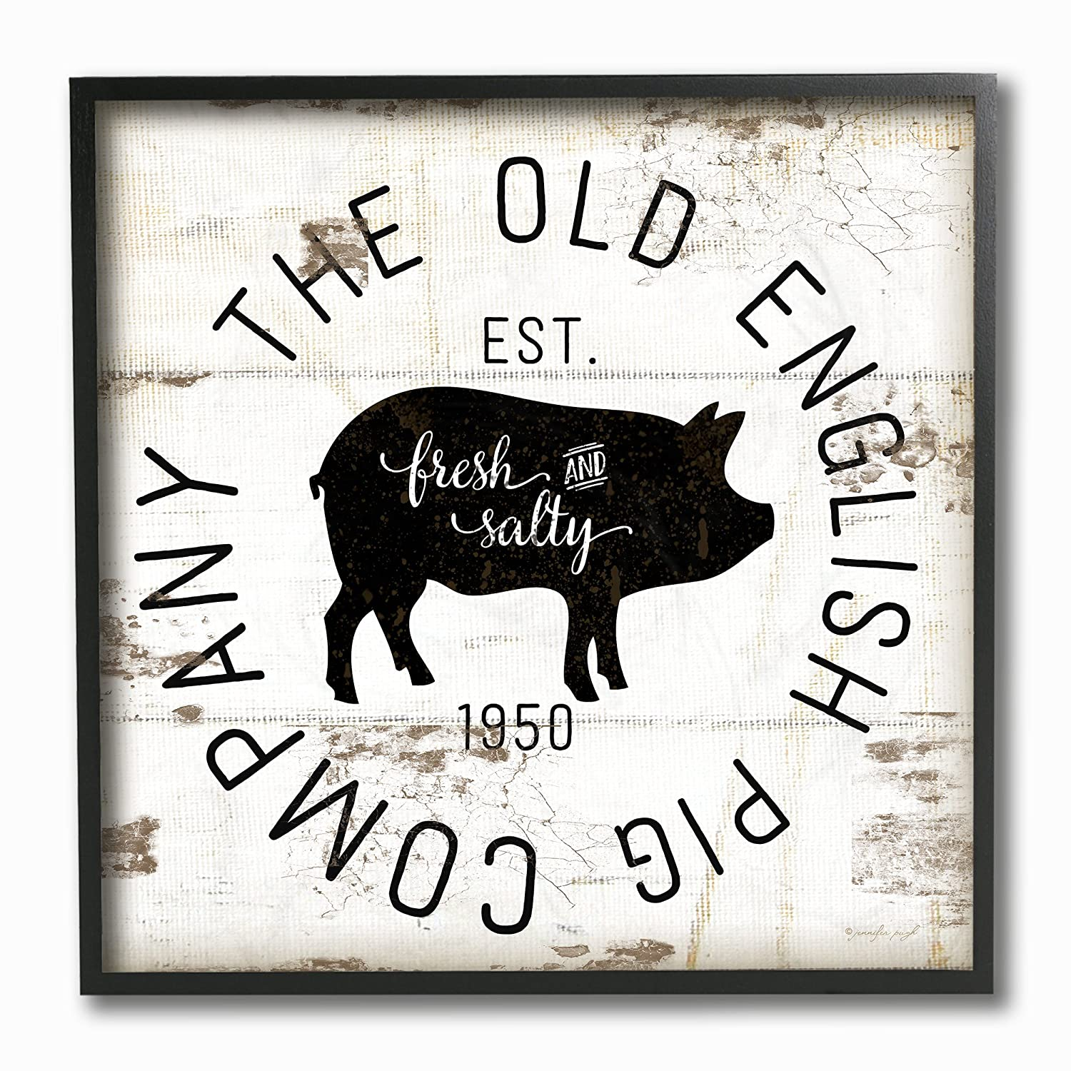 Proudly Made in USA Stupell Industries Old English Pig Co Vintage Sign Stretched Canvas Wall Art 17 x 1.5 x 17
