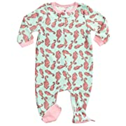 Leveret Kids Fleece Baby Girls Footed Pajamas Sleeper 100% Polyester (Sea Horse, Size 6-12 Months)