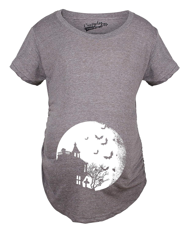 Maternity Bats Over Moon Spooky Halloween Haunted House Pregnancy T shirt Crazy Dog Tshirts 017MoonBatsMAT