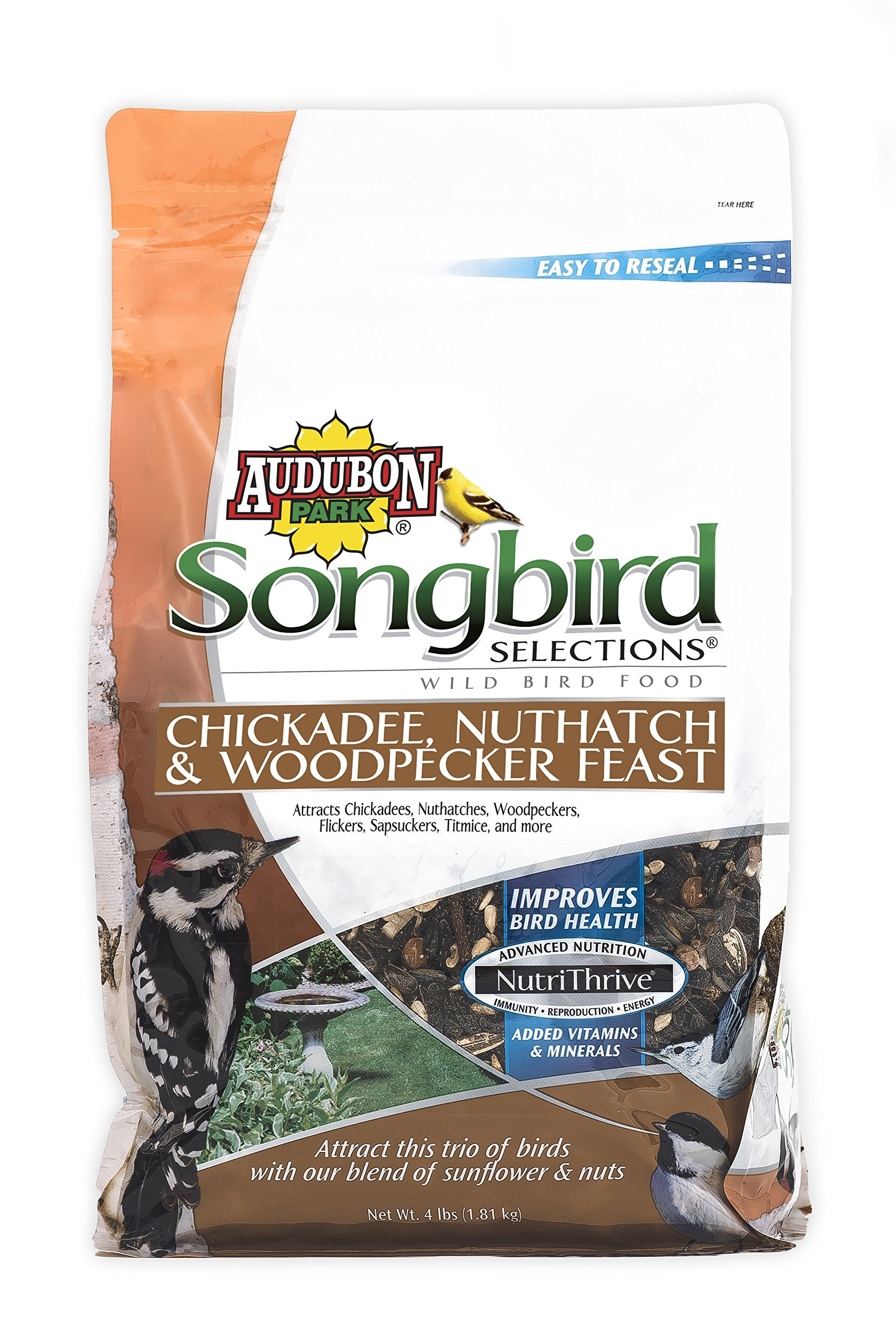 Songbird Selections 12124 Chickadee, Nuthatch and Woodpecker Feast Wild Bird Food, 4-Pound by Audubon Park Songbird Selections