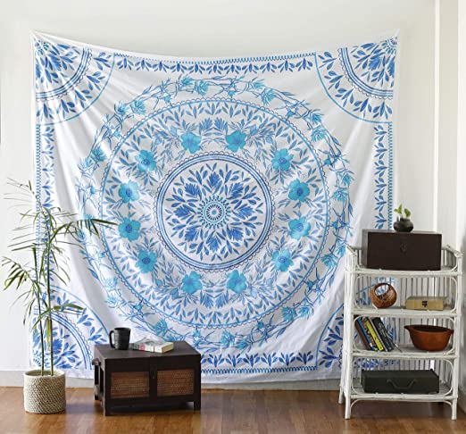Indian Blue Hippie Floral mandala Tapestry King Bedding Bedspread Decor Trow Art