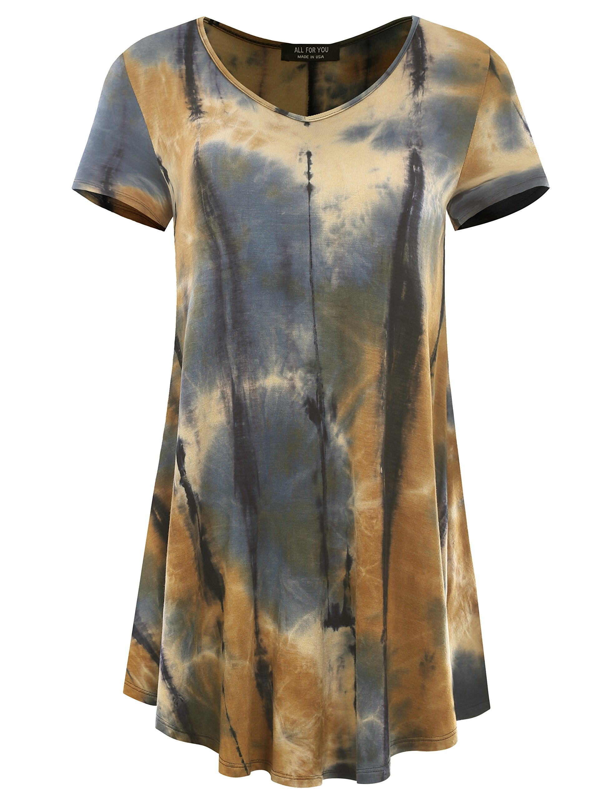 All for You Women's Short Sleeve V-Neck Flare Hem Floral Print Tunic Tie-Dye Taupe 2 X-Large