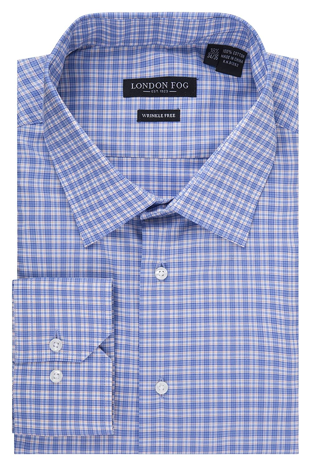 Symbol Of The Brand Slim Fit Blue Plaid Herringbone Spread Collar Wrinkle Freee Cotton Dress Shirt Shirts
