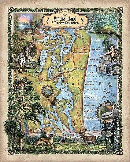 Great River Arts Amelia Island Map Wall Art Print Vintage (11x14 Prints,  Amelia-Island-Florida-1)