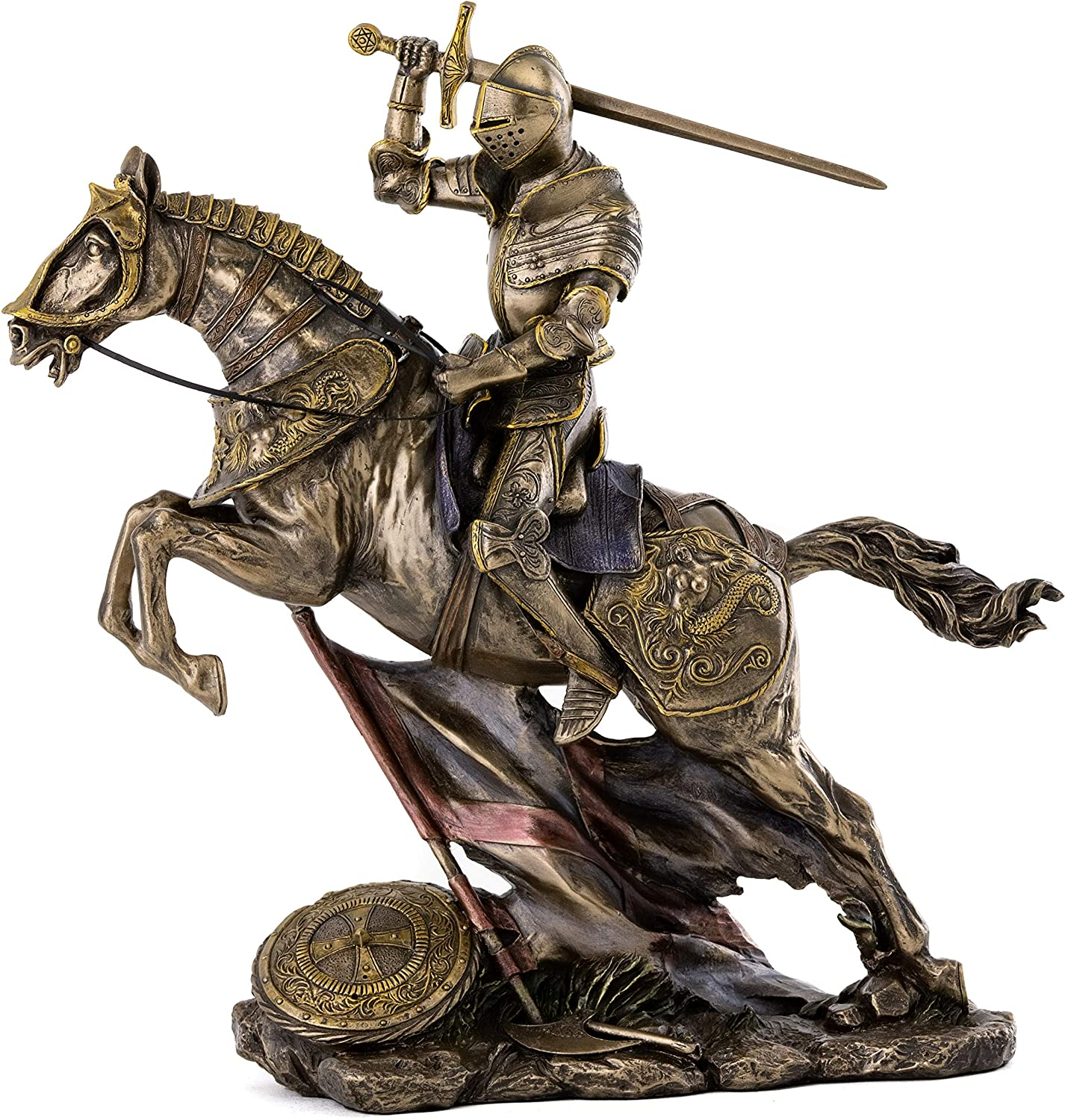 Top Collection Medieval Knight Statue in Armor - Battle Warrior Sculpture on Horse in Premium Cold Cast Bronze - 10.25-Inch Collectible Renaissance Decor Figurine