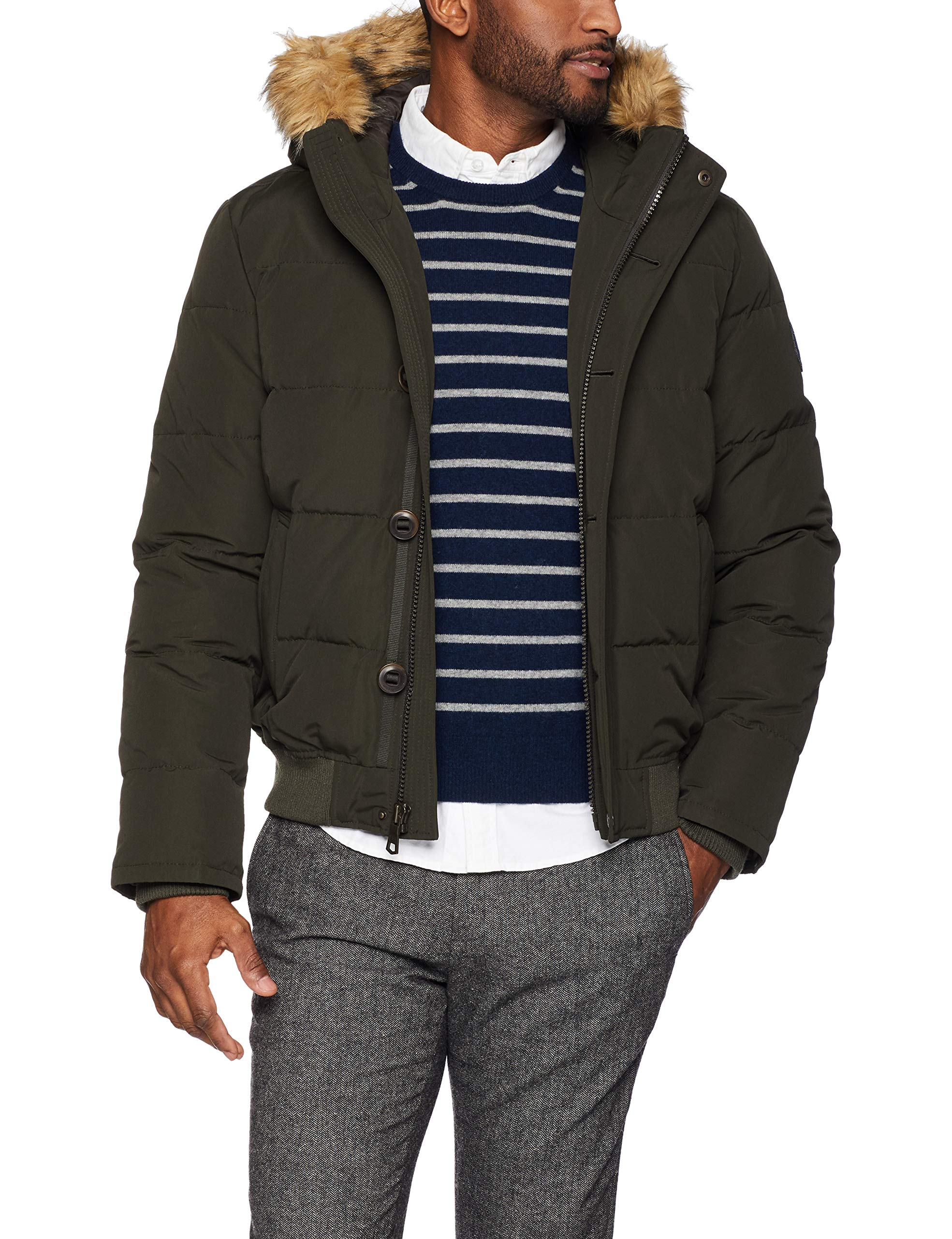 Tommy Hilfiger Men's Arctic Cloth Quilted Snorkel Bomber, dark forest, Large by Tommy Hilfiger
