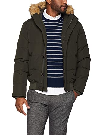 569ee795e13a Tommy Hilfiger Men s Arctic Cloth Quilted Snorkel Bomber Jacket with  Removable Faux Fur Trimmed Hood at Amazon Men s Clothing store