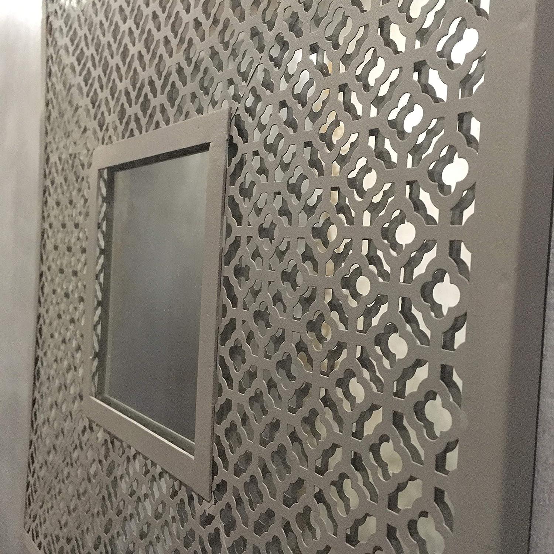 Miroir En Style Shabby Chic Et De Style Industriel Ornate Marocain Structure En M/étal Et Patin/é Couleur Gris Antique 50 x 50 x 1,5 cm A24