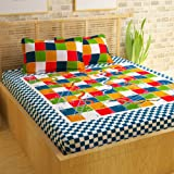 Story@Home Premium Vintage 152 TC Cotton Double Bedsheet with 2 Pillow Covers - Snake and Ladder, Multicolour