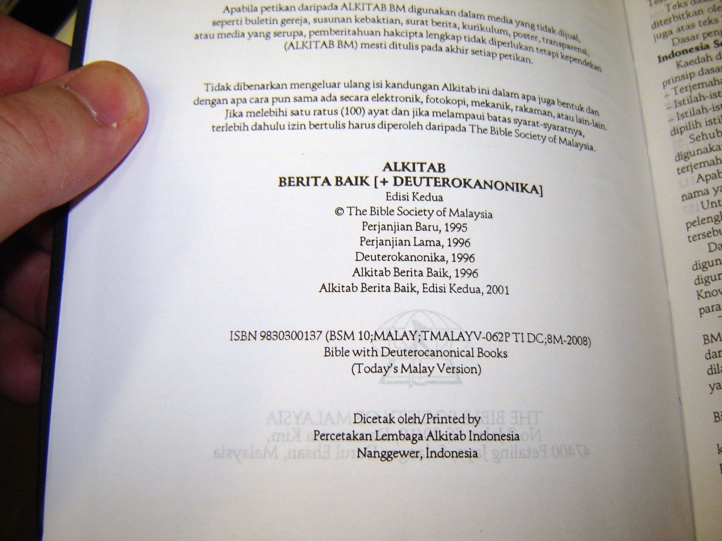 Alkitab / Berita Baik + Deuterokanonika / Edisi Kedua - Perjanjian Baru and Lama / Malay Catholic Bi: Bible Society: 9789830300139: Amazon.com: Books