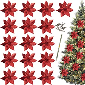 Trimgrace 16 Pieces 6'' Red Christmas Glitter Poinsettia Flowers Decorative Artificial Poinsettia Flowers for Christmas Wreath Tree Decoration Accessories Ornaments Crafts Decor