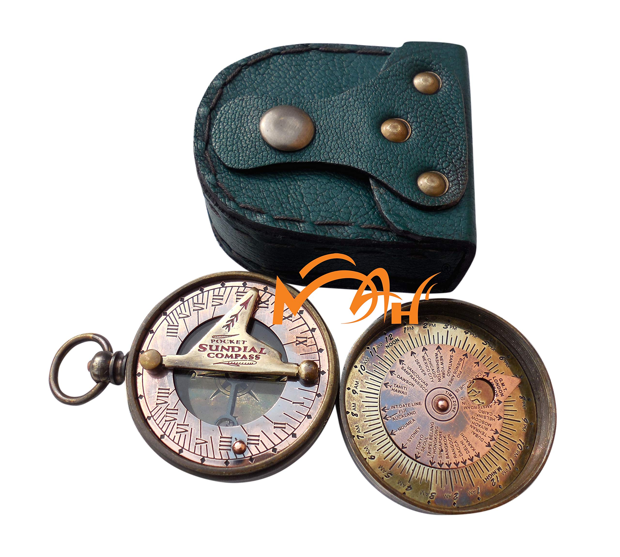 MAH Pocket Sundial Compass, Both Side Work on the Bird with Stamped Leather case. C-3170-1 by MAH