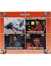 Star Trek stamps - From the original series with McCoy, Scotty and Ahura - 4 stamps. Mint and never mounted stamp sheet