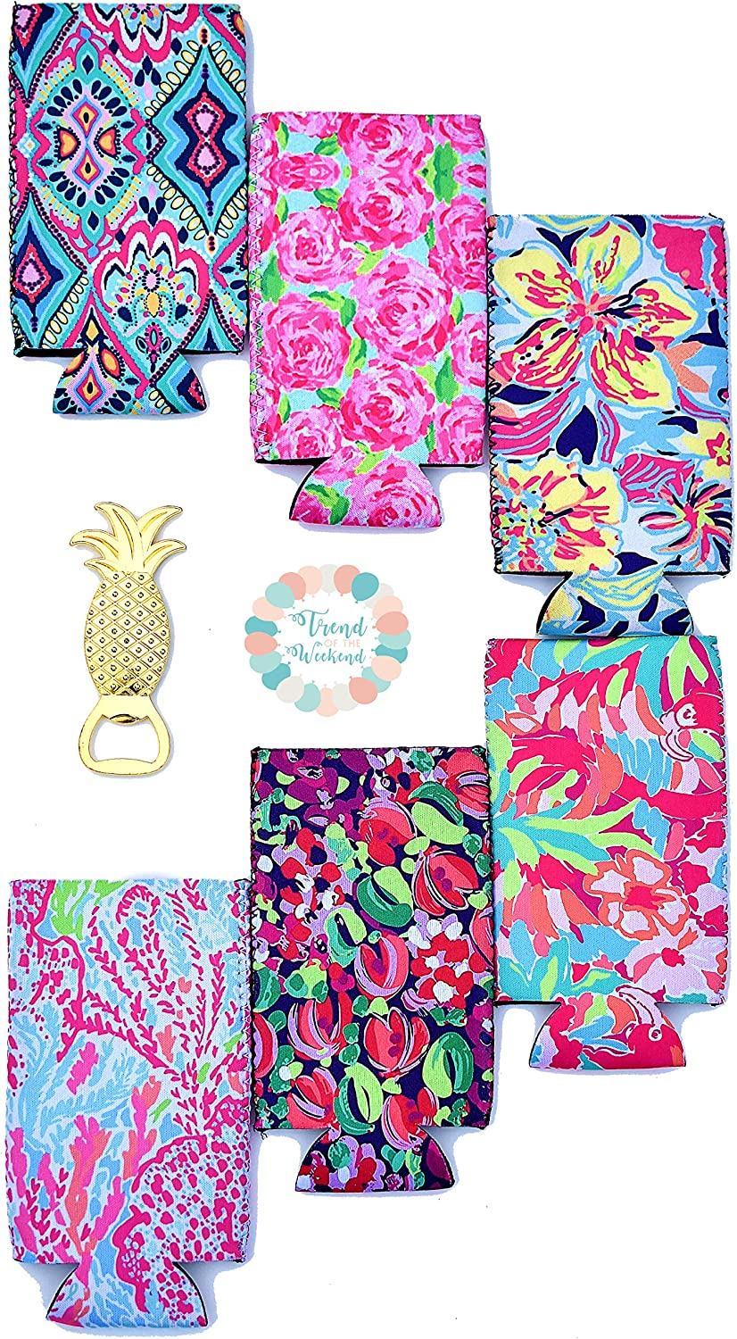 6-Pack Slim Can Neoprene Insulators in Cute Floral Patterns and Pineapple Bottle Opener| Perfect for Insulator for 12oz Tall Drinks Like White Claw, Truly, Red Bull, Spiked Seltzer, Michelob Ultra!