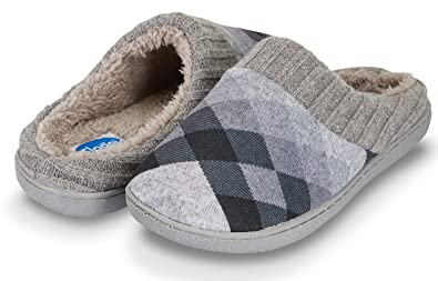 37e98303dfd Floopi Womens Indoor Outdoor Argyle Knit Fur Lined   Ribbed Hand-Knit  Collar Slipper W