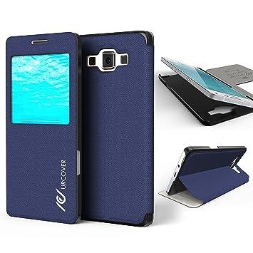 Urcover® Samsung Galaxy A5 2015 | View Case Funda Protectora | Cross Pattern en Azul Obscuro | Carcasa Protección Completa Case Cover Smartphone ...
