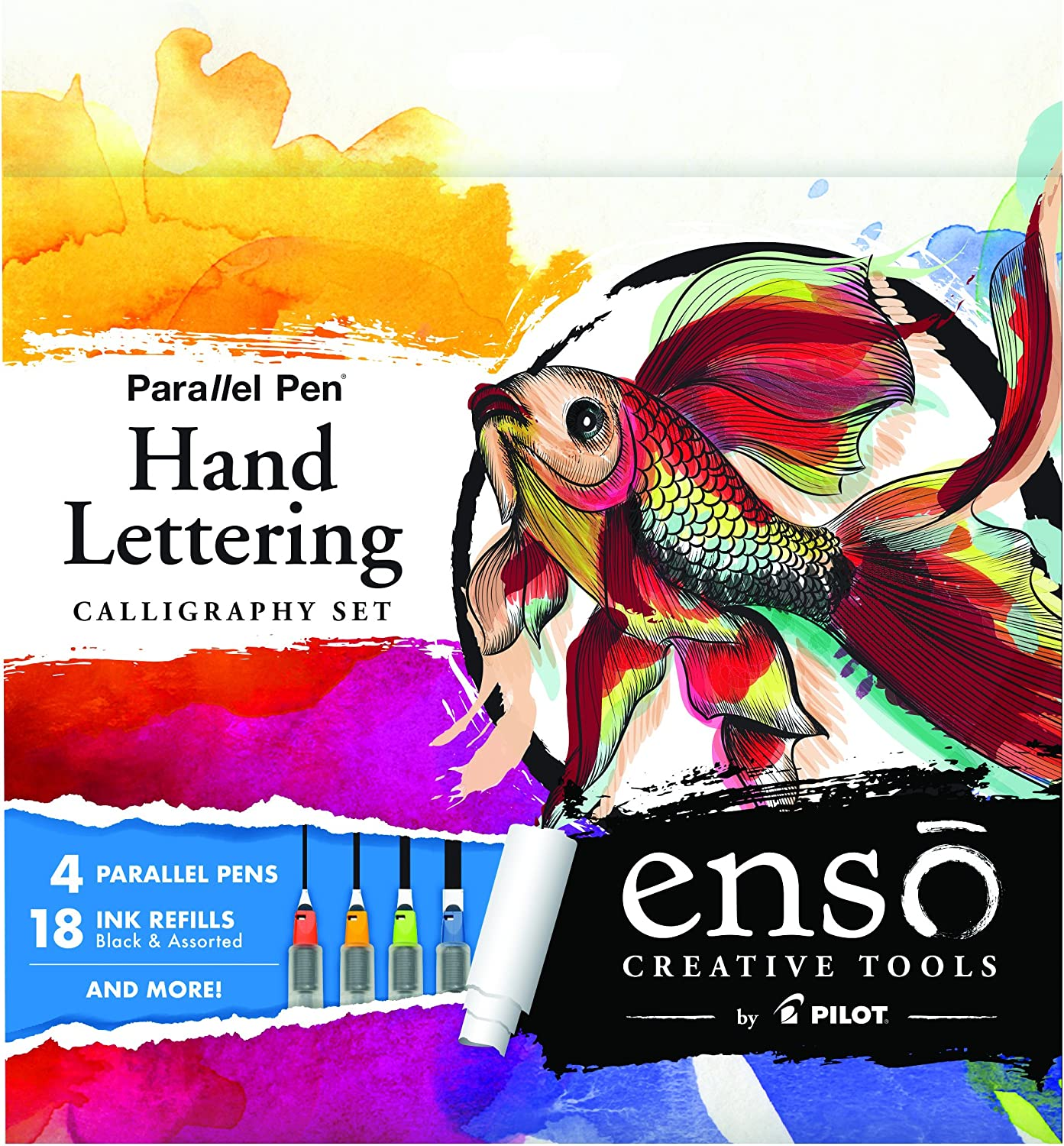 PILOT Enso Parallel Pen Hand Lettering Calligraphy Set - Amazon Exclusive Kit!; 4 Nib sizes (1.5mm, 2.4mm, 3.8mm, 6.0mm) Calligraphy, Hand Lettering or Whatever Your Muse Inspires (10678)