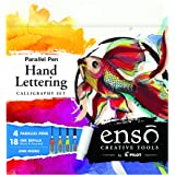 Pilot Enso Parallel Pen Hand Lettering Calligraphy Set - Amazon Exclusive Kit!; 4 Nib sizes (1.5mm, 2.4mm, 3.8mm, 6.0mm)  Calligraphy, Hand Lettering or Whatever Your Muse Inspires (10678