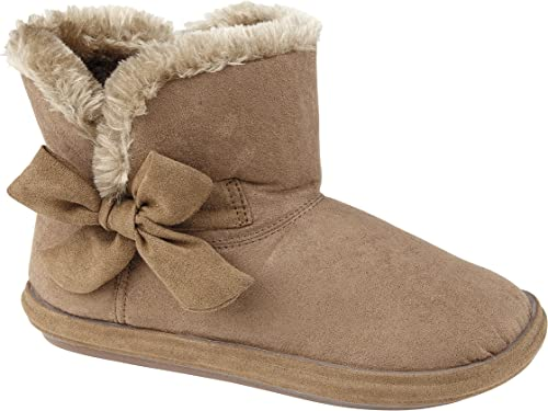Womens Faux Suede Furry Bootee Slipper