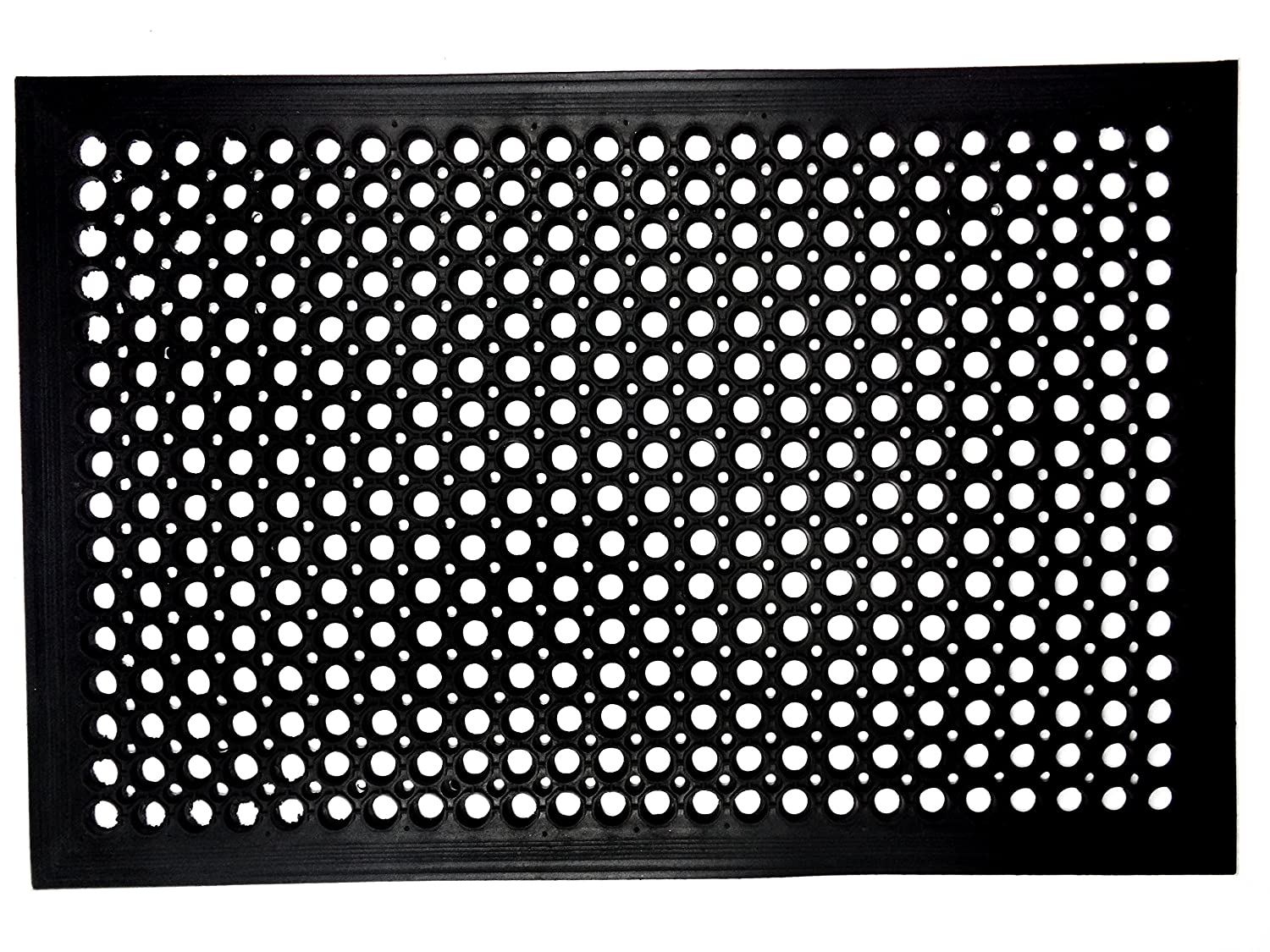 Iron Gate - 2 Piece Anti-Fatigue Anti-Skid Ramp Restaurant Drainage Mat - 100% Solid Rubber - Size 24x36 - Heavy Duty Rugged Commercial Professional Grade Construction