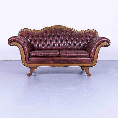 Chesterfield Leder Sofa Rot Braun Zweisitzer Couch Echtleder ...
