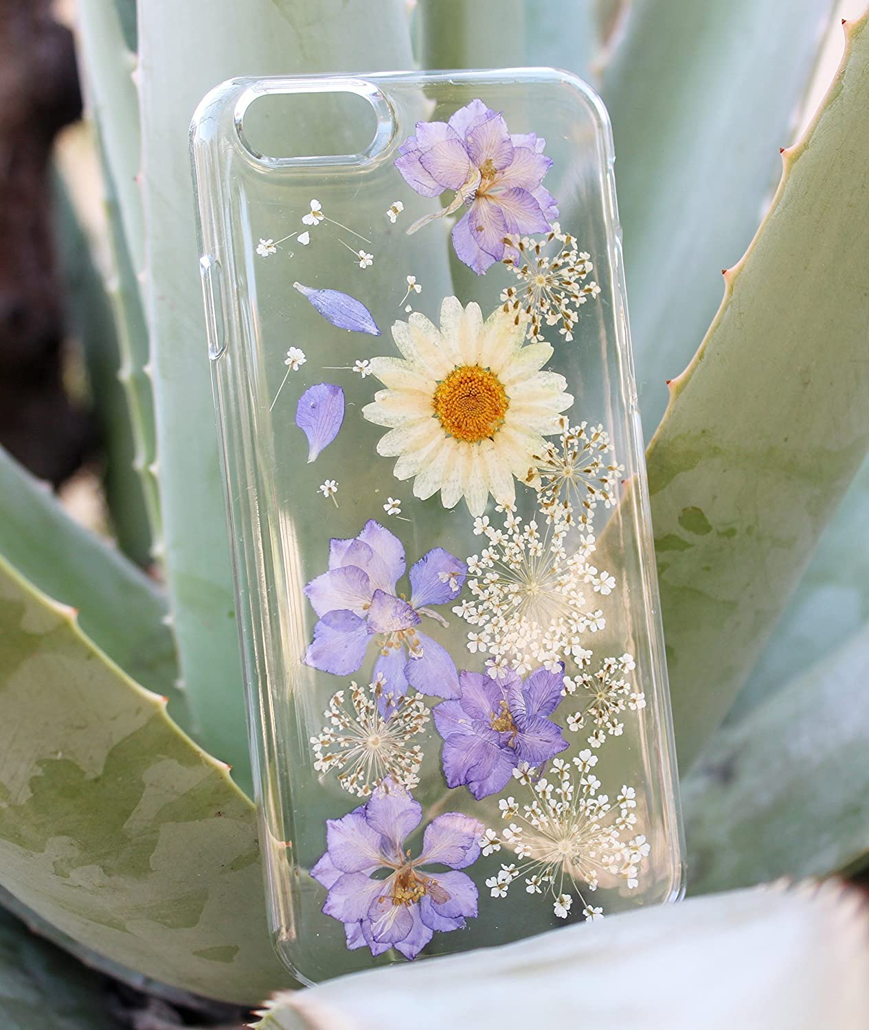 Purple Passion Flowers LG V20 V30 Phone Case- Pressed Dried Flowers On LG G6, LG G3 Crystal Clear Snap on Case - Real Flowers HTC A9, Sony XA, Sony Xperia Z3, Z3 Mini, Z5, Z5 Mini Phone Cover