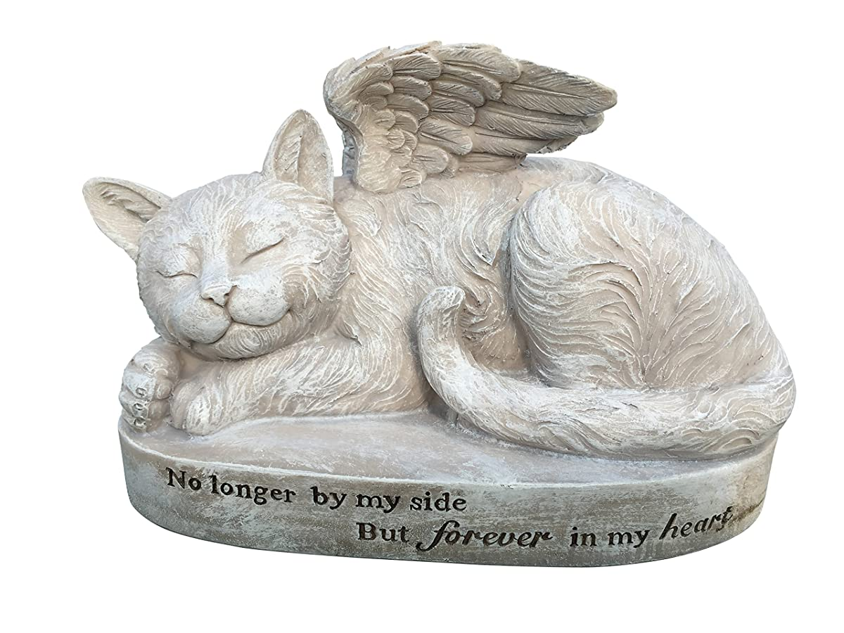Cat Angel Memorial Marker – Sleeping Angel Devotional Remembrance Marker (Stone)
