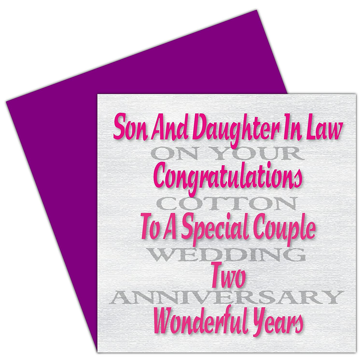 Son & Daughter In Law 2nd Wedding Anniversary Card - Cotton ...