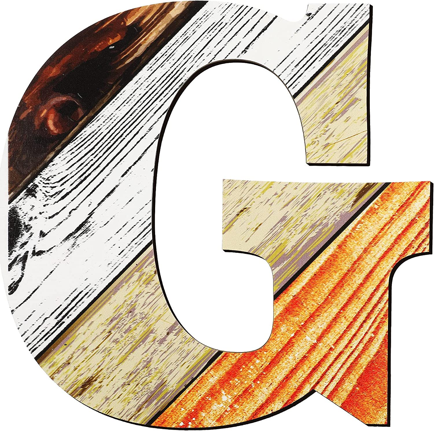 12 Inch Wood Textured Pattern Letters Number Home Decor Sign Wooden Letters and Character for Home Decor DIY Wedding Party Home Decoration Alphabet Education (G)