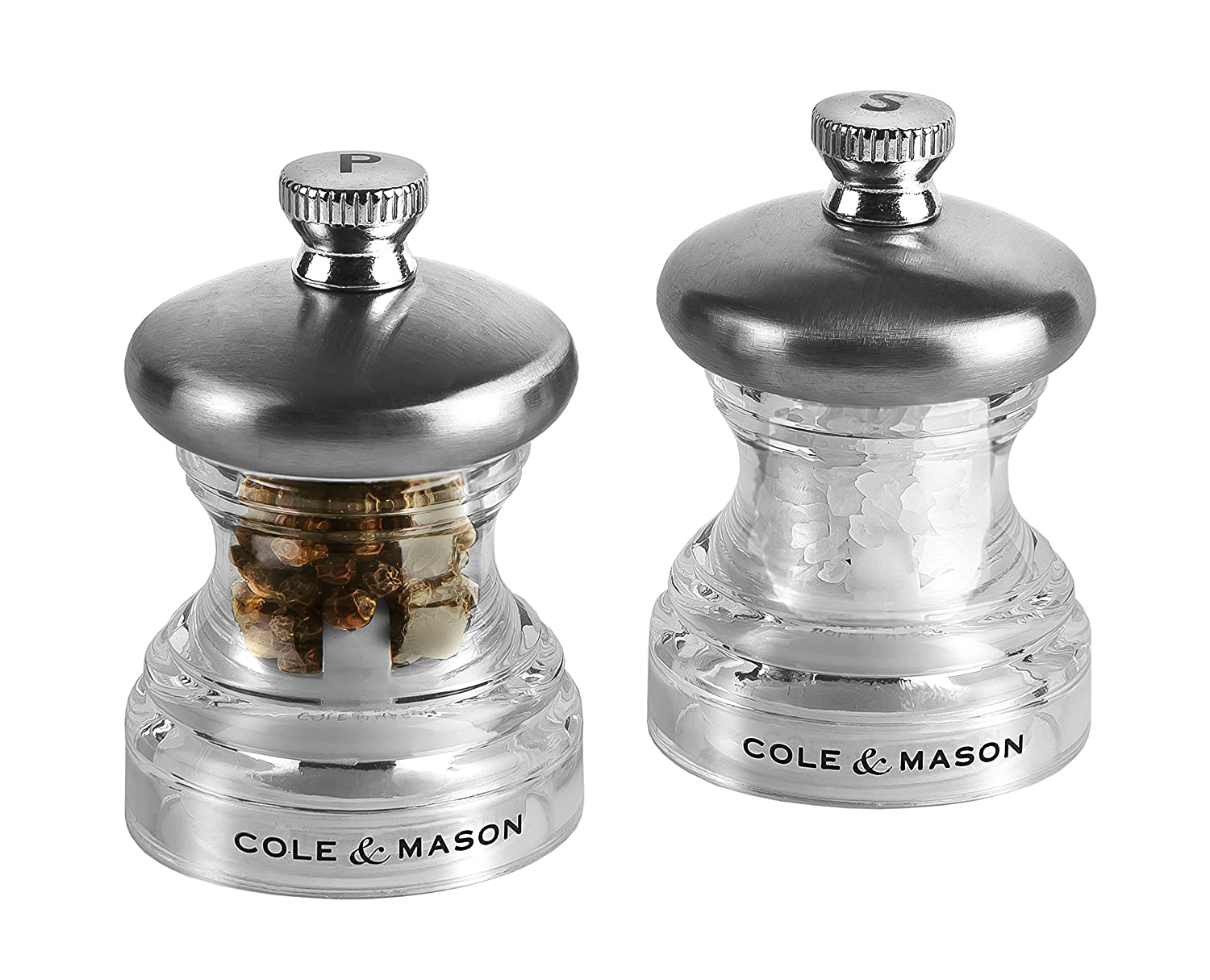 Cole & Mason Precision Grind Button Salt and Pepper Mill Gift Set, Acrylic and Stainless Steel/Clear, 6.5 cm DKB Household UK Ltd H302418