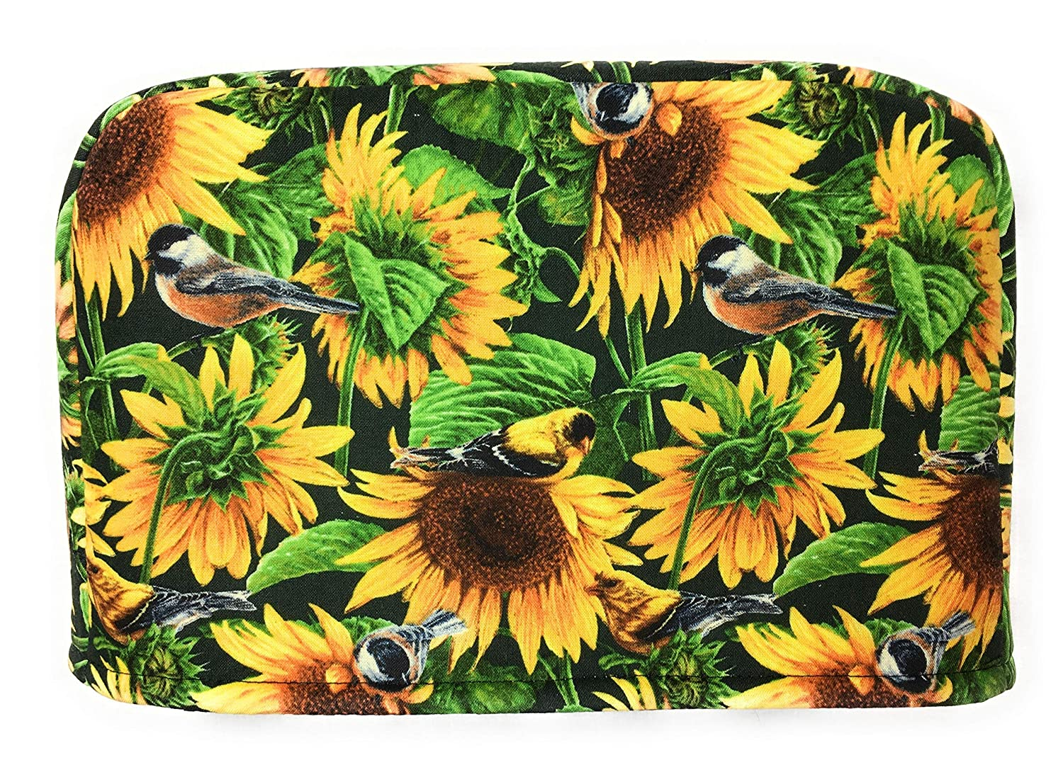 4 Slice Slot Yellow and Brown Sunflowers and Green Leaves and Birds Reversible Toaster Appliance Dust Cover Cozy 11.5(l) x 7.5(h) x 11.5(w)