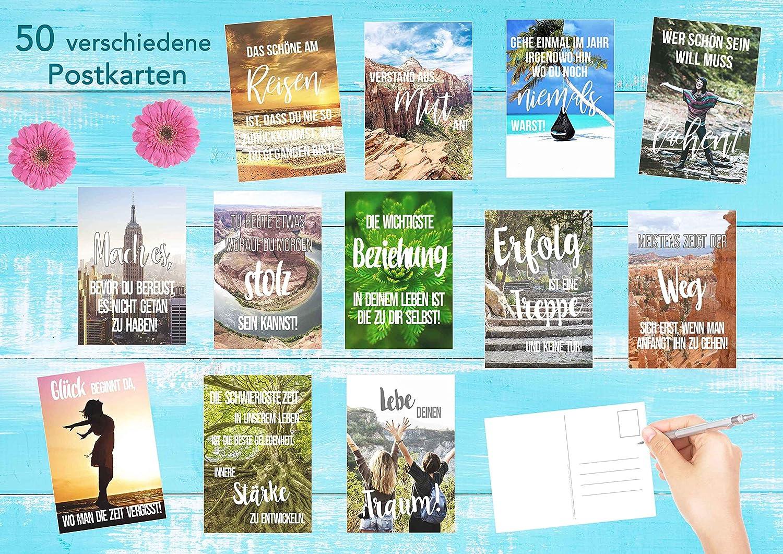 Leben Freundschaft Dekoidee Karten mit Spruch lustig Geschenkidee Geschenk Motivation Sortiment Text Liebe Edition Seidel Set 50 Postkarten Leben /& Momente mit Spr/üchen
