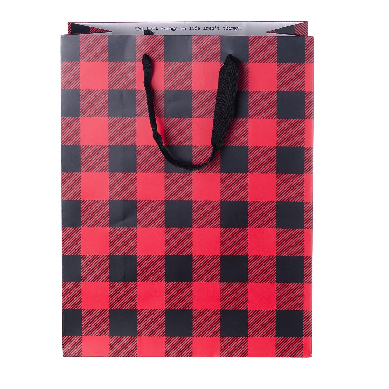 Everitt Cottage Christmas Gift Bags, 10 ct, 10x5x13, Pattern: Plaid - bulk paper shopping bags 10x5x13 White Label 2CL24