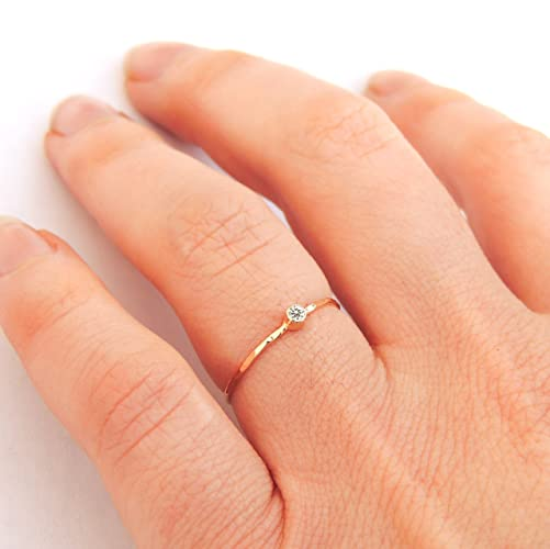 Amazon Ultra Thin Tiny Diamond Ring Gold or Silver