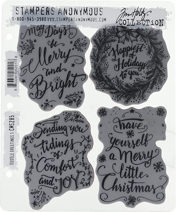 Stampers Anonymous Tim Holtz Cling Stamps Doodle Greetings #2 Doodle Greetings #1 Festive Sketch Scribble Woodland
